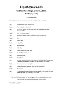 Role Playing -- Family 1. A Very Big Family! Worksheet
