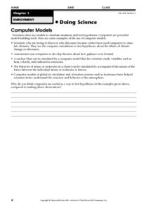 Doing Science: Computer Models Worksheet