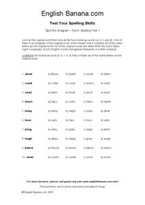Spot the Anagram - Dolch Spelling Test 1 Worksheet