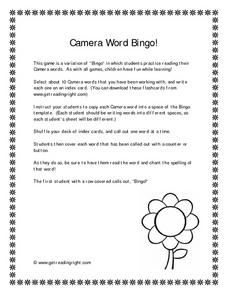 Camera Word Bingo! Worksheet