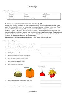 Bonfire Night-- Guy Fawkes November 5 Worksheet
