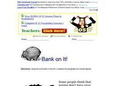 Bank On It!  Worms Worksheet