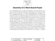 Geometry Ch 2 Word Search Worksheet