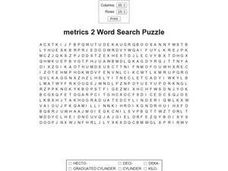 Metrics 3 Word Search Worksheet