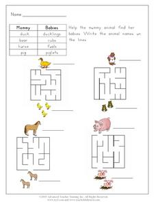 Help the Mommy Animal Find Her Babies Worksheet