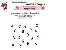 Letter Recognition A, B, C Worksheet