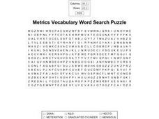 Metrics Vocabulary Word Search Worksheet