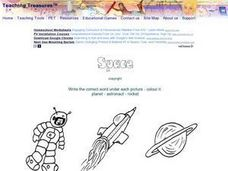 Planet, Astronaut, Rocket  (Label the Picture) Worksheet