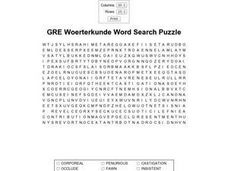 GRE Vocabulary Word Search Puzzle Worksheet