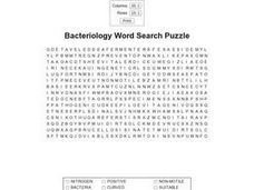 Bacteriology Word Search Puzzle Worksheet