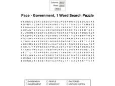 Pace- Government 1 Word Search Puzzle Worksheet