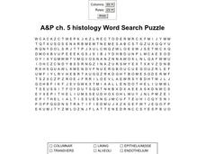 A and P Ch. 5 Histology Word Search Puzzle Worksheet