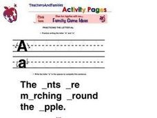 Printing Practice-- The Letter Aa Worksheet