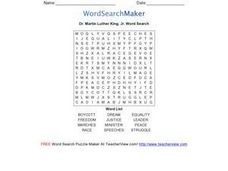 Dr. Martin Luther King, Jr. Word Search Worksheet