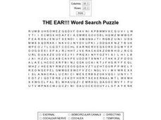 The Ear!!!  Word Search Puzzle Worksheet