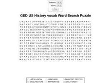 GED US History Vocab Word Search Puzzle Worksheet