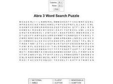Abra 3 Word Search Puzzle Worksheet