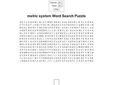 Metric System Word Search Puzzle Worksheet