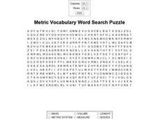 Metric Vocabulary Word Search Puzzle Worksheet