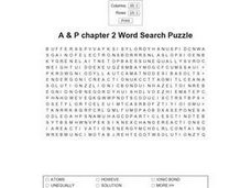 A & P Chapter 2 Word Search Puzzle Worksheet