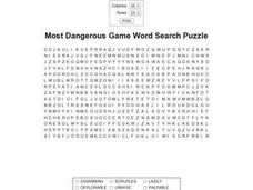 Most Dangerous Game Word Search Puzzle Worksheet