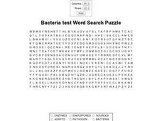 Bacteria Test Word Search Puzzle Worksheet