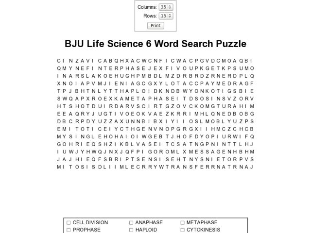 BJU Life Science 6 Word Search Worksheet