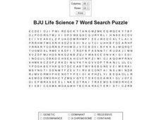 BJU Life Science 7 Word Search Puzzle  Worksheet