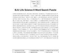 BJU Life Science 8 Word Search Puzzle  Worksheet