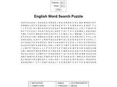 English Word Search Puzzle Worksheet