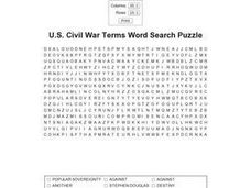 U.S. Civil War Terms Word Search Puzzle Worksheet