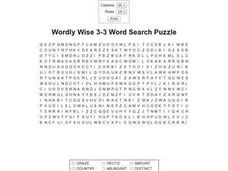 Wordly Wise 3-3 Word Search Puzzle Worksheet