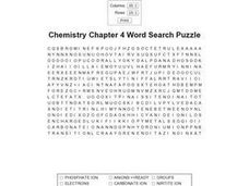 Chemistry Chapter 4 Word Search Puzzle Worksheet