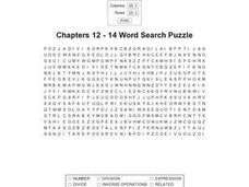 Chapters 12 - 14 Word Search Puzzle Worksheet