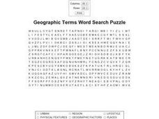 Geographic Terms Word Search Puzzle Worksheet