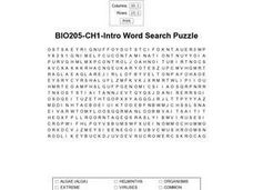 BIO205-CH1- Intro Word Search Worksheet