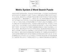 Metric System 2 Word Search Puzzle Worksheet