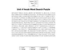 Unit 4 Vocab Word Search Puzzle Worksheet