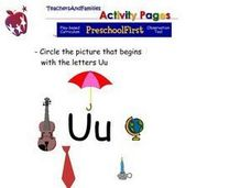Picture Association With the Letters Uu Worksheet