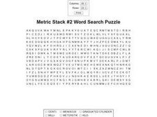 Metric Stack #2 Word Search Worksheet