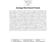 Zoology Word Search Worksheet