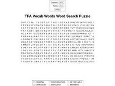 TFA Vocab Words Word Search Puzzle Worksheet