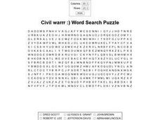 Civil War Word Search Puzzle Worksheet