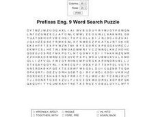 Prefixes Eng. 9 Word Search Puzzle Worksheet