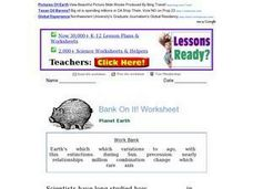Bank On It! Worksheet - Planet Earth Worksheet