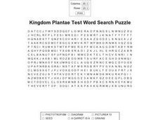 Kingdom Plantae Test Word Search Puzzle Worksheet