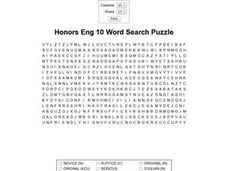 Honors English 10 Word Search Puzzle Worksheet