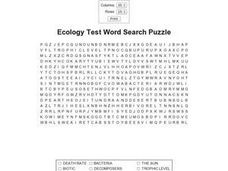 Ecology Test Word Search 9th - 12th Grade Worksheet | Lesson Planet