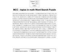 Topics in Math Word Search Puzzle- Geometry Worksheet