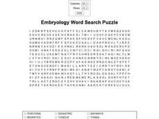 Embryology Word Search Puzzle Worksheet